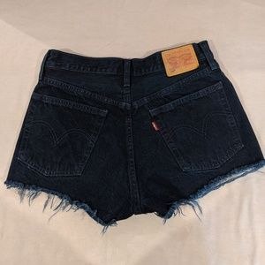 Classic Levi's 501 dark wash cutoff shorts